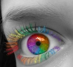 neon colors of the rainbow eyes Pretty Eyes, Cool Eyes, Beautiful Eyes, Amazing Eyes, Rainbow Eyes, Rainbow Colors, Neon Colors, Rainbow Things, Rainbow Gif