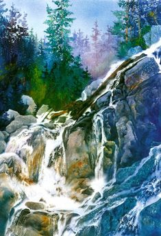 """""""Northern Falls"""" by Gary Spetz - watercolor"""
