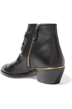 Chloé - Susanna Studded Leather Ankle Boots - Black - IT36.5