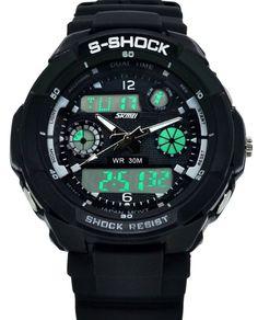 Amazon.co.jp: SKM 腕時計 ブランド メンズ ボーイズ 男の子 アナデジ表示腕時計 登山用多機能腕時計 ファッション 防水 ウォッチ スポーツウォッチ アラームウォッチ クロノグラフ ストップウォッチ: 腕時計通販