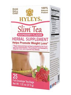 Hyleys Slim Tea Raspberry Blend has senna leaves, green tea and raspberries to cleanse the digestive system and stimulate colon movement Sleep Tea, Weight Loss Tea, Acai Berry, Lose Weight Naturally, Natural Sugar, Raspberries, Metabolism, Cleanse, Detox