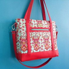 Tudor Bag in red leather and Tula Pink fabric! Sewsweetness.com