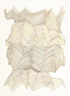 Kristy Modarelli. Inspiration - draw from crumpled ephemera , follow creases and folds, draw first then stitch ?