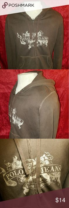 """Ralph Lauren Polo Zip Up Hoody/Jacket Womens XL Item is in great fashionable condition. Has the """"right"""" amount of freying up the the front close to zipper to give it that """"Vintage"""" look. EUC. Non smoking home with no pets. Polo by Ralph Lauren Jackets & Coats"""