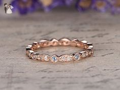 Natural Blue Topaz and Diamond Wedding Band,Solid 14k Rose Gold Engagement Ring,Anniversary Stacking Ring,Marquise and Princess Shape - Wedding and engagement rings (*Amazon Partner-Link)
