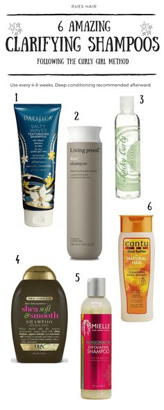 Curly Approved Clarifying Shampoos (No Sulfates!) - Clarifying shampoos are essential to remove build up in your hair (especially protein). Discover which shampoos are the best for your curls. No damage! No Sulfates! Wavy Hair Care, Curly Hair Tips, Natural Hair Tips, Curly Hair Styles, Natural Hair Styles, Natural Makeup, Natural Hair Shampoo, Shampoo For Curly Hair, Curls