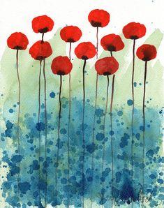 Buy 2 Get 1 FREE -- Watercolor Painting: Watercolor Flowers -- Art Print -- Serendipity -- Red Flowers -- 8x10