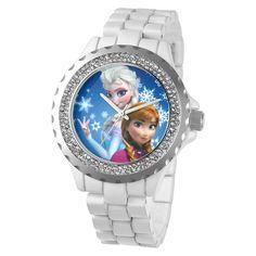 Women's Disney Frozen Anna and Elsa Enamel Spark Watch - White