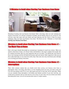 5-mistakes-to-avoid-when-starting-your-business-from-home-20953278 by Chan Yew via Slideshare