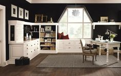Decorá Cabinetry: Hawthrone Non-beaded Inset Maple Chantille - traditional - home office - MasterBrand Cabinets, Inc.