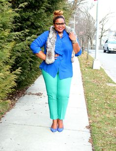 Cobalt Blue shirt With A Side of Mint pants and blue suede shoes!