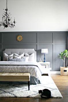 A dark gray accent wall in the bedroom Bedroom Sets, Bedroom Colors, Home Bedroom, Master Bedroom, Bedroom Decor, Baby Bedroom, Fancy Bed, Basement Bedrooms, Basement Ideas