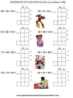 Schede didattiche di matematica addizioni in colonna con risultato superiore a 100