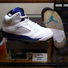 online store 1ccf0 bfb8d Nike Air Jordan V Grape 5 Size 10.5 DS Rare 2006 Retro Icey Soles