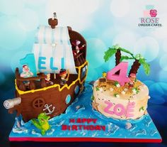 3D Pirate Ship  and Island Cake