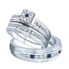 DazzlingRock Collection 14K White Gold Round Blue Sapphire