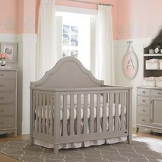 gray crib white wainscoting with colored walls above