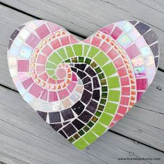 Heart Pink and Purple Mosaic Heart Stepping Stone