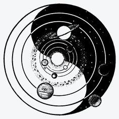 Circular Tattoo Designs, Lace Tattoo Design, Earthy Tattoos, Simplistic Tattoos, Mystical Tattoos, Symbolic Tattoos, Chaos Tattoo, Galaxy Tattoo Sleeve, Galaxy Tattoos