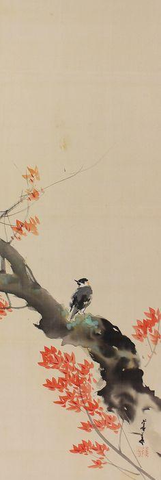 Bird and Flower. Japanese hanging scroll kakejiku.