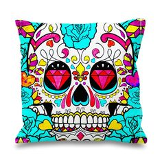"""Sugar Skull Biamond Pillowcases Pillow Cases This pillow cover made from high quality drapery weight 50% cotton fabric and 50% Polyester with hidden zipper closure. All seams are surged to prevent fraying for long time of wear.This cover is made about 1"""" smaller in all dimensions to provide a full and luxurious feel for the pillow. Also i have 3 variant size.Available only Two side print, it is mean the booths side will have patternThe pillow inside is """"NOT"""" included in this listing, but…"""