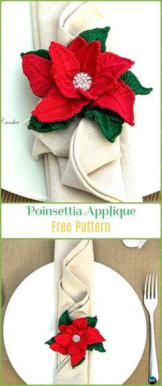 Crochet Poinsettia Applique Free Pattern - Crochet Poinsettia Christmas Flower Free Patterns
