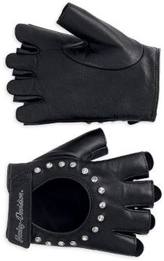 Embellished Fingerless Leather Gloves - Genuine cowhide leather. Tricot lining. Quick-release finger pull tabs to easily remove gloves. Adjustable closure. Stud and crystal embellishment on back of hand. Embroidered graphics. 98307-12VW