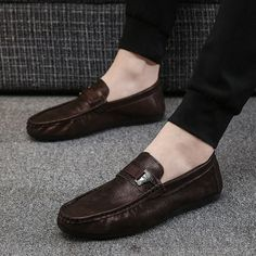 on sale 9d400 c119a Men PU Leather Slip On Metal Decoration Casual Driving Loafers
