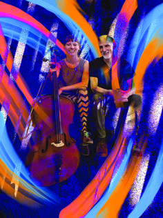 Marina and John: A live concert featuring Marina Hasselberg, cello, and John Oliver, electronics, that took place at the Gold Saucer, Vancouver, Canada, August 6, 2016. Photo credit to Alex Waterhouse-Hayward, Procreate art included  multiple layers of painting.