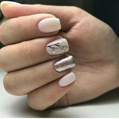 Ivory nails with silver glitter and black foliage detailing. Trendy Nails, Cute Nails, Hair And Nails, My Nails, Ivory Nails, Nagel Stamping, Fall Nail Art Designs, Gelish Nails, Pretty Nail Art