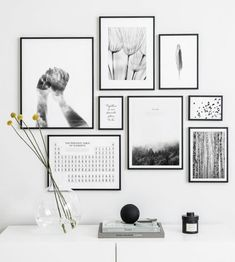 Gallery Wall Inspiration - Shop your Gallery Wall,Gallery wall with black and white posters and black metal frames Frames are decorative accessories that surround the moments you immortalize. Black And White Picture Wall, White Picture Frames, Black And White Posters, Black And White Wall Art, Black Frames On Wall, Black Framed Art, Black White, Black And White Interior, Framed Wall Art
