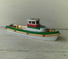 Green Salvor Gillnet Toy Wooden Boat by toyboatworks.etsy, $45.00