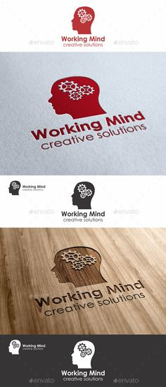 Working Mind Logo - Mechanics of human mind – vector logo illustration of mechanism in human head. An excellent logo template highly suitable for engineering, mechanical, and industrial businesses.  Creative art logo for Your business. Perfect for websites, business cards, company stationery and others!