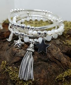 Inka STARS & MOON chunky Sterling Silver bead stretch Stacking Bracelet SET of 4 in Jewellery & Watches, Fine Jewellery, Fine Charms & Charm Bracelets | eBay!