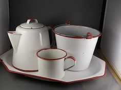4 piece White and Red Enamel Ware Platter by estatejewelryshop, $22.50