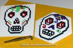 Modèles en perles Hama pour Halloween : têtes de mort