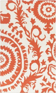 8' x 11' Enchanted Bloom Empress Orange and Eggshell White Hand Woven Wool Area Throw Rug Diva At Home $804.99
