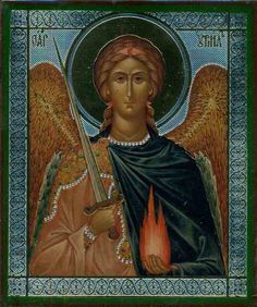 Russian Orthodox icon with Archangel Uriel