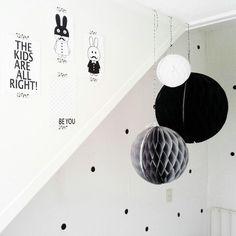 Kids room: black, white pom poms SANDFELD ▲ STYLEhttp://www.pinterest.com/littlenordic/