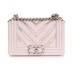 749b65189fc9 CHANEL Lambskin Iridescent PVC Chevron Quilted Small Boy Flap Light... ❤  liked on
