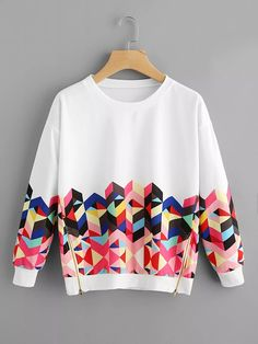 To find out about the Geo Print Zipper Side Drop Shoulder Sweatshirt at SHEIN, part of our latest Sweatshirts ready to shop online today! Girls Fashion Clothes, Teen Fashion Outfits, Trendy Fashion, Girl Fashion, Girl Outfits, Clothes Women, Fashion Brands, Fashion Dresses, Mode Grunge