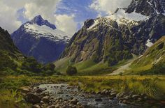 Oil Painting of Mountains, South Island, New Zealand