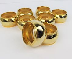 Set Of 8 Gold Tone Napkin Rings Holders Holiday Parties No Brand Or Markings #Unbranded