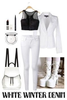 """White winter denim"" by raven-lux ❤ liked on Polyvore featuring Armani Jeans, Frame Denim, rag & bone, Guerlain, Topshop, Bobbi Brown Cosmetics, Winter, white and winterwhite"