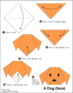 - Easy Origami For Kids Dog(face) - Easy Origami For Kids .Dog(face) - Easy Origami For Kids . Chat Origami, Instruções Origami, Easy Origami Flower, Origami Ball, Origami Dragon, Origami Fish, Origami Ideas, Simple Oragami, Hanging Origami