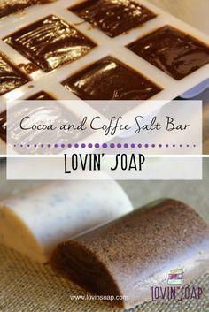 Cocoa and Coffee Salt Bar Recipe Kakao- und Kaffeesalzbar Salt Bar Recipe, Diy Soap Natural, Natural Candles, Diy Savon, Coffee Soap, Soap Tutorial, Soap Making Supplies, Homemade Soap Recipes, Homemade Cards