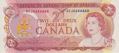 Canadian Banknotes 2 Dollars banknote 1974 Queen Elizabeth II