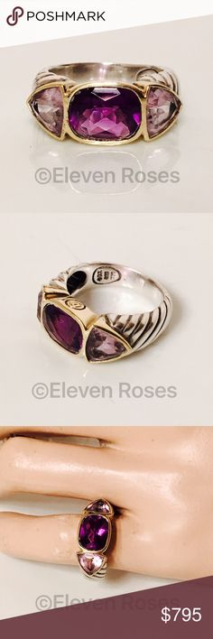 David Yurman Amethyst Mosaic Renaissance Ring Classic David Yurman Amethyst Mosaic Renaissance Ring - 925 Sterling Silver & 750 18k Yellow Gold - Amethyst & Lavender Amethyst Gemstones - Hallmarked; D.Y., 925, 750 - US Size 6 - Preowned / Preloved   May Show Slight Signs Of Having Been Worn.     Listing Images Are Of Actual Item Being Offered David Yurman Jewelry Rings