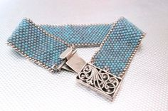 SALE turquoise beaded jewelry seed bead bracelet statement cuff silver box clasp bracelet