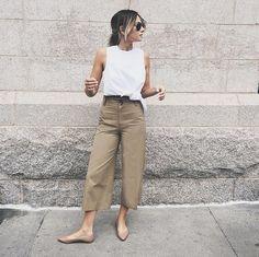 A White Top, Khaki Pants, and Beige Flats
